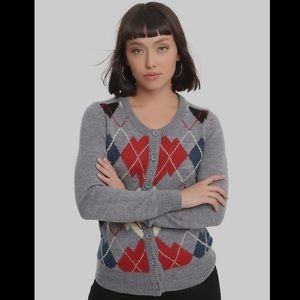 Hot Topic Twin Peaks Argyle Cardigan Small NWT